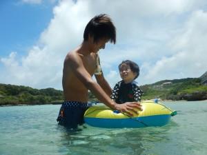 息子と箱メガネボート