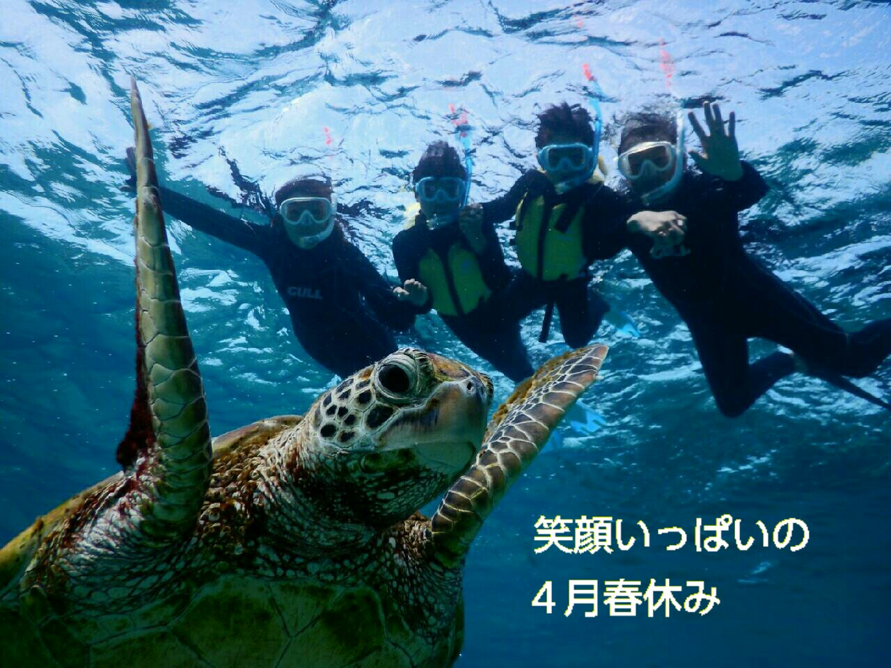 笑顔いっぱい春休みは宮古島でウミガメとシュノーケル